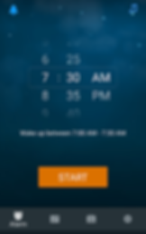 "Screenshot of Sleep Cycle App, a dark blue screen with alarm time options in white.  White text below reads, ""Wake up between 7:00 AM - 7:30 AM"" and an there is an orange ""Start"" button below.  At the bottom is a black menu bar with icons for different options."