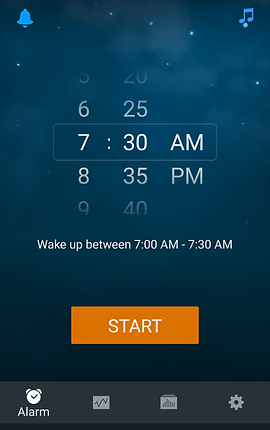 """Screenshot of Sleep Cycle App, a dark blue screen with alarm time options in white.  White text below reads, """"Wake up between 7:00 AM - 7:30 AM"""" and an there is an orange """"Start"""" button below.  At the bottom is a black menu bar with icons for different options."""