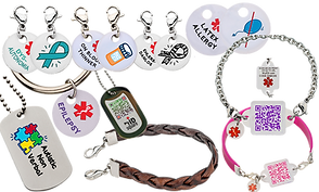 "Various round medic-alert charms showing fronts and backs.  They include Dysotonomia awareness, a charm stating ""On Blood Thinners,"" Another reading, ""Ehlers Danlos,"" ""Latex Allergy"", there's also a keychain reading ""Epilepsy"", a dog tag with a camo rubber cover, another uncovered reading ""Autistic Non-verbal"".  There are 2 bracelets (one on chain and one pink rubberized), both with small plastic squares with QR Codes on the front, and a small braided leather bit for a bracelet."