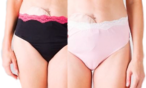Partial images of 2 models wearing panties (1 black and 1 pink), each is trimmed with lace at the top and an ostomy bag can be seen peeking out above the lace.