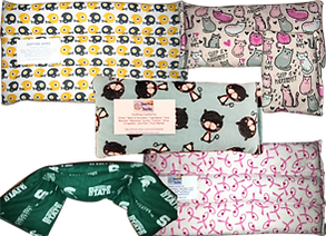 """Flannel patterned hot and cold packs.  At the top is a badge that reads- """"For 10% off use cde PRETTYSICK"""""""
