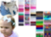 A small child wearing a headband with bow that is attached to a hearing aid, a visor with a horton-hears-a-who pattern, and 5 colums of color and pattern choices