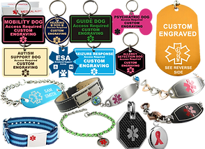 2 rows of 8 different dog tags.  Each tag explains access needed and the type of service the dog performs, mobility, gude, psychiatric, autism support, etc. The tags come in 5 different shapes and several color combinations.  Below the tags are an assortment of medic-alert bracelets andnecklace charms in different colors and styles.