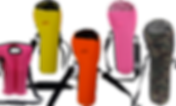 A hot pink double-oxygen canister carrier, and 4 neoprene single tank carriers in yellow, orange, pink, and a green camo pattern.