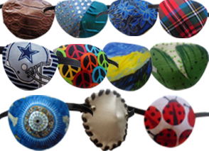 11 different eye patches in various fabrics, patterns and designs