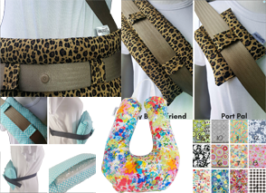 3 Cheetah printed seat belt cushions, a teal and white ice cushion usd 4 different ways, a rainbow floral u-shaped cushion and a set of fabric swatches