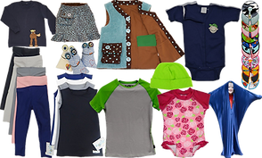 a range of children's clothes including shirts with animal appliques that allow for feeding tube access, weighted vests, a row of different feeding/g-tube pads, a set of soft stretchy pants, sensory-friendly tank tops, breatheable tops, swimsuits, and a stretchy body stocking, and weighted bundles designed to look cute with faces.
