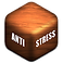 Anti-Stress Logo, a small wooden cube with Anti Stress writen on 2 sides in white
