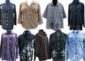 9 different button downshirts in shot or long sleeves.  They're in different colors and most featue some kind of embroidery.
