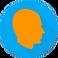 Headache Log Logo, a blue circle with orange silhouette of a head