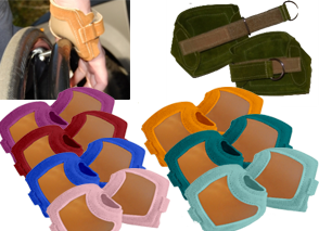 A pair of special gloves designed for use with manual wheelchairs. The glove base are all tan but there are 7 different border colors in the image.