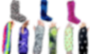 3 boot cast covers on top- one black with skulls, one blue tie-dye, and one hot pink zebra print.  At bottom 6 arm cast/brace covers: one rianbow tie dye, one purple tie-dy, one camo, one abstract black and green, one pale green with seashells, and one black with white pawprints.