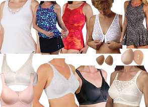 several women's torsos modeling a tank top, 3 diferent swimsuits and a front-closing lacey bra, 2 sleek finished bras- one pink, one cream, and 3 more torsos modeling additional different styled bras.
