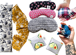 2 long thin microwavable heating pads in different fabrics, 2 small and 1 large heatable eye pillows, and 3 sets of small square hand warmers.