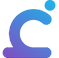Calm Harm Logo, A blue shape fashioned to be part letter c, part figure of a person leaning over