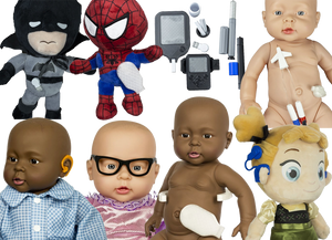 A stuffed batman with a cgm, a stuffed spiderman with an ostomy bag, a set of doll-sized diabetes tools, A white baby doll with a central lie, a black doll with an orange hearing aid, a white doll with black glasses, a black doll with an ostomy bag, and a stuffed Anna doll with a blue cochlear implant