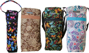 4 oxygen canister carriers in different fabric patterns.