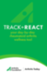 "Screenshot of Track & React App, a green screen with rounded white section at the bottom. In the green is white text reading, ""Track + React. Your day-by-day rheumatoid arthritis wellness tool.""  In the white section is black text reading, ""Arthritis Foundation 