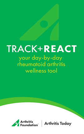 """Screenshot of Track & React App, a green screen with rounded white section at the bottom. In the green is white text reading, """"Track + React. Your day-by-day rheumatoid arthritis wellness tool.""""  In the white section is black text reading, """"Arthritis Foundation 