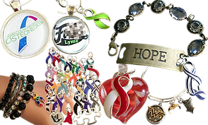 "Various pieces of jewelry, bracelets, necklaces and charms including a wide variety of colored ribbons.  One metal and jeweled bracelets with a metal band reading ""Hope,"" a silver bracelet with multiple charms including 3 wonder woman themed charms, a pendant reading ""F**k Lyme"", and a set of bracelets with a rainbow ribbon."