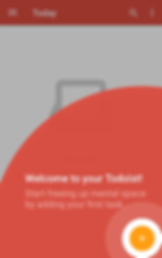 "Screenshot of ToDoIst App, a white and red screen with gray overlay.  There is a round partial circle springing onto the page from the bottom right corner.  White text reads, ""Welcome to your Todoist!  Start freeing up mental space by adding your first task"""