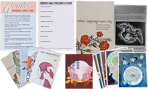 """A set of cards- one reading """"Gentle Reminder"""", and Another allowing for notes.  Several different hand-printed zines about chronic pain, and various floral glycee prints."""
