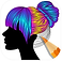 Color Therapy Logo, a person's silhouette in profile with a colored pencil filling in color on the figure's hair