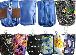 2 rows of pouches wih lobster clasps a the top.  They are small and designed to clip to a belt loop or to be fed through a belt.  There ae different fabric patterns shows in different colors.