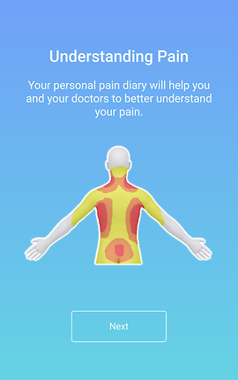 """Screenshot of Pain Companion App, a blue screen with white text reading, """"Understanding Pain. Your personal pain diary will help you and your doctors to better understand your pain.""""  Below the text is a partial image of a body from the back from the waist up.  Parts of the body are lit up in yellow, red, and orange to indicate areas of pain."""