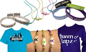 "3 white wrist bands reading ""Invisible Illness,"" 4 nasal cannula in green, yellow, pink, and blue, 4 plastic wristbands reading ""Spoonie Sisters"", the bands are black, green, purple and blue., A turquoise shirt reading, ""Chronic Pain Warrior"", a wrist wearing 3 different bracelets with metal central pieces, each has a different colored cord and the centers have coordinating black, green and purple ribbons etched in them, and a purple long sleeve shirt reading, ""Queen of Napzzz"""