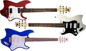 3 modified electric guitars, one red and white, one white and black, and one blue and white.