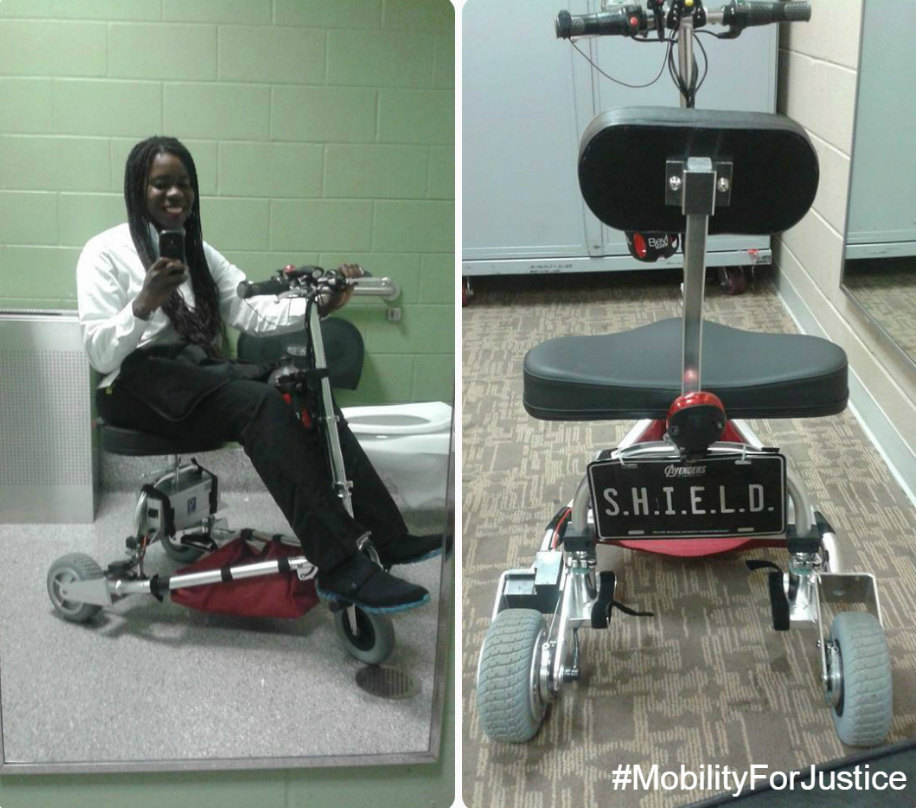 "A Split screen- on the left a photo of a black woman on a mobility scooter.  She is taking a selfie of herself in a mirror.  On the left side is the scooter alone facing front to show a license plate that reads, ""S.H.I.E.L.D."""