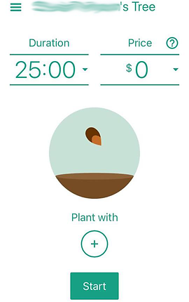 "Screenshot of Flora App, a white screen with green text.  In the center is a circle with a seedling poised over dirt.  Above is a timer set at 25 minutes and a Price set at $0.  Below the seedling is text reading, ""Plant With +"""