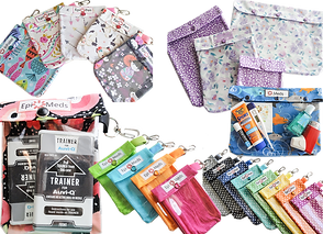 Various batches of fabric pouches in different prints, fabrics and color.  Designed to hold different inhalers, medicines and epi-pens.