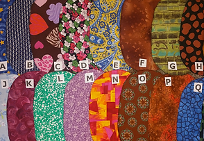 A photo of 16 different fabric swatches labeled with letters A through Q.