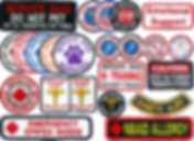 """Rows of various shapes and sizes of embroidered patches.  Inclding message not to pet srvice dog, notations about emegency epi-pens, nsaid allergies, diabetic alerts, multiple colors of """"service dog woking"""" patches, hearing impaired handler patches and more."""