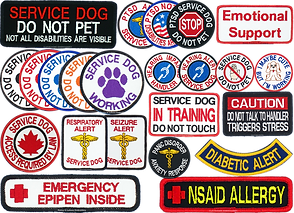 "Rows of various shapes and sizes of embroidered patches.  Inclding message not to pet srvice dog, notations about emegency epi-pens, nsaid allergies, diabetic alerts, multiple colors of ""service dog woking"" patches, hearing impaired handler patches and more."