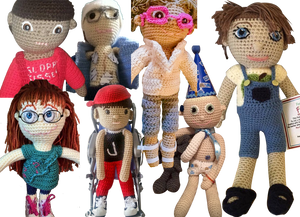 Crocheted dolls designed to look like their owners. They are shown in a variety of ethncitis, with various scars, mobility equiment, medical gear and features.