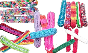 5 batches of loom band stim toys. They are long thin round-edged and come in a wide range of colors.