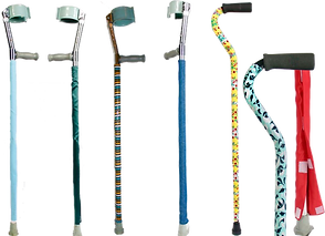 4 forearm crutches wrapped in various fabrics and patterns.  2 canes similarly covered, and a closeup showing the velcro closures at the bottom.
