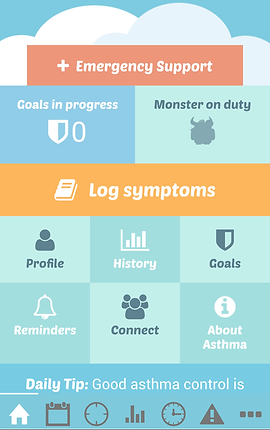 """Screenshot of Kiss my Asthma App, a colorful screen separated into blue, orange, and pale green squares and rectangles.  Each shape offers different options.  These include, """"Emergency Support,"""" """"Goals in progress,"""" """"Monster on Duty,"""" """"Log Symptoms,"""" """"Profile,"""" """"History,"""" """"Goals,"""" """"Reminders,"""" """"Connect,"""" and """"About Asthma"""".  The top of the screen is blue with a white illustrated cloud shape.  At the bottom is a blue menu bar with icons for different options."""