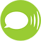 LetMeTalk logo, a white speech bubble on a lime green circular background