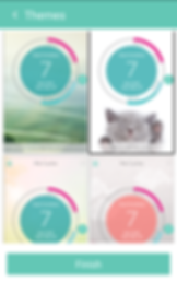 """Screenshot of My Cycles app, a green bar at the top reads, """"Themes"""" with a back button.  4 themes are partly visible- one with a photo of green fields, one with a gray kitten, another with yellow tones, and the final one with gray and white tones.  Each theme has a green circle in the center with the line of a larger circle around it.  There is a dark pink section on each out circle in the top right, and a greenish section in the bottom right.  In the center is white text reading, """"Next Ovulation 7 days left"""""""