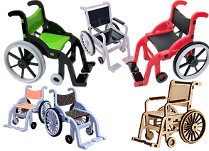 6 small scale wheelchair versions in varying colors. Most are plastic, one is a wood model that can be assembled by the buyer.
