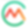 Carb Manager Logo, a white square with large thin green C. In the C is an M in red and orange