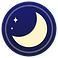 Blue Light Filter Logo, a pale yellow crescent moon in the bottom corner of a dark blue circle
