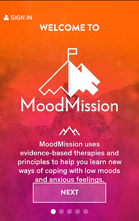 "Screenshot of Mood Mission App, a photo of a mountain faded behind an orange and pink gradient overlay.  The Mood Mission Logo is near the middle of the screen, with white text below reading, ""MoodMission uses evidence-based therapies and principles to help you learn new ways of coping with low moods and anxious feelings."""