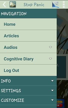 "Screenshot of Stop Panic App, a green navigation menu with options for, ""Home, Articles, Audios, Cognitive Diary, Log Out, Info, Settings,"" and ""Customize."