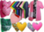 2 Bundles, each with a blanket and 2 heart shaped pillows.  One set is pink and one green.  2 additional pillows- fronts in solid colors and backs with patterns, an a row of tee shirts with velcro front closures and patterned drain pockets sewn in