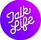 Talk Life Logo, a bright purple circle with Talk Life writtenin cursive at an angle in white